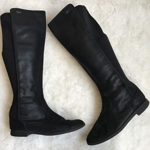 Lacoste Rosemont Black Leather Tall Boots Size 7.5